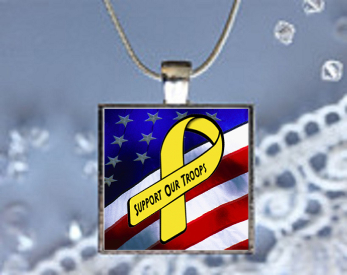 Pendant Necklace Awareness Ribbon Yellow, Support Our Troops