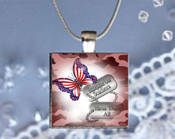 Pendant Necklace Awareness with Services ID, Support Our Soldiers