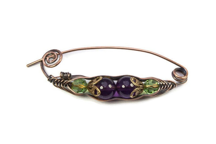 Two Peas in a Pod Brooch, Purple Amethyst with Green Swarovski Crystals and