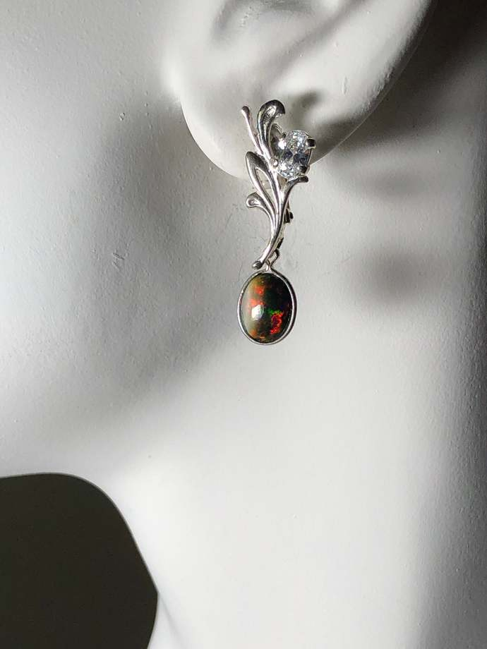 Natural Ethiopian Black Opal Gemstone Post Earrings set in Sterling Silver with