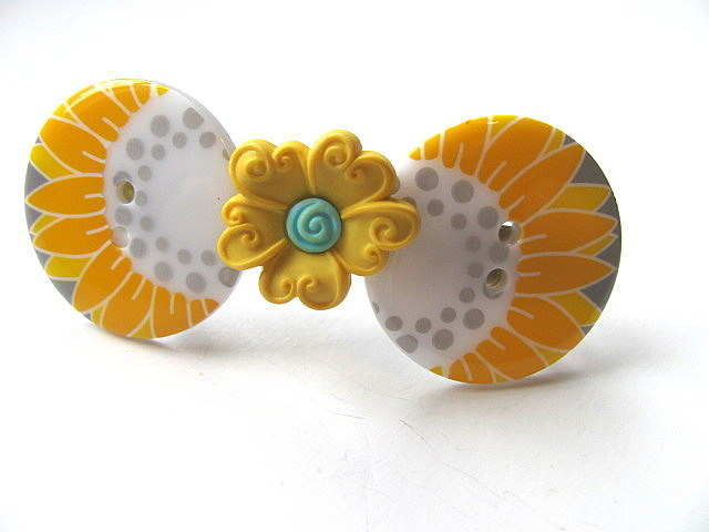 Yellow Flowers Button Barrette FREE US Shipping
