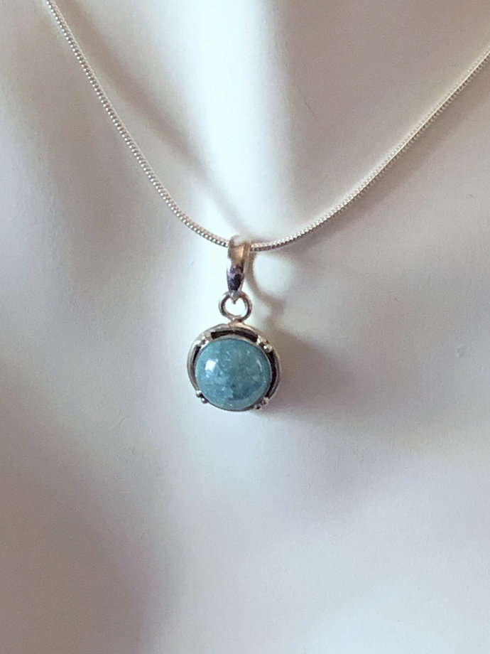 Blue Ice Zirconia Gemstone Pendant Necklace with Sterling Silver Chain