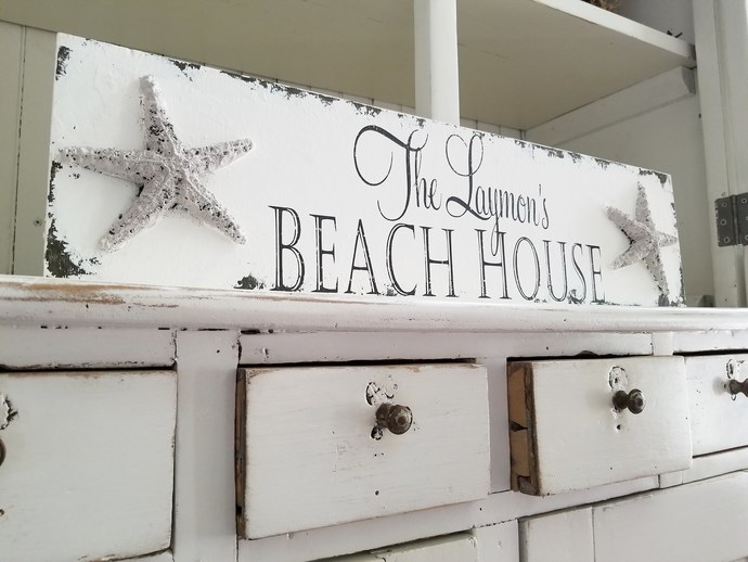 CUSTOM NAME SIGN | Beach House Decor | Starfish | Family Name Sign | Nautical