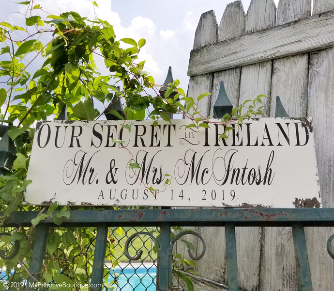 Personalized Secret Wedding Sign   Rustic Elopement Sign   Rustic Wedding Sign  