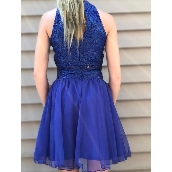 Two Piece Royal Blue Short Homecoming Dress, Tulle Prom Dress
