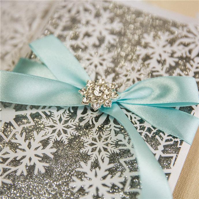 More Colors Snowflake Winter Laser Cut Wedding Invitations Pocket Wedding
