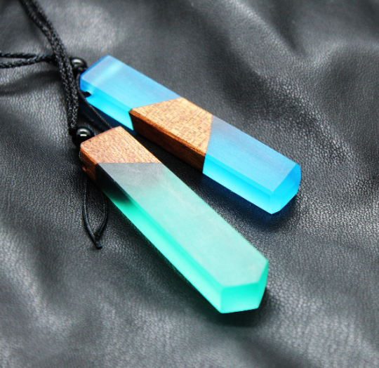 Colored resin necklace pendant, stick pendant, Natural wood pendant, Wood resin