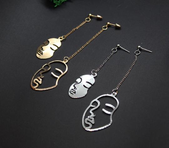 Face earrings, abstract earrings, abstract face, picasso earrings, gold face