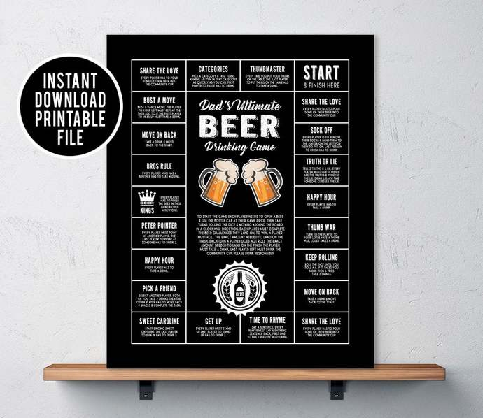Beer Drinking Game, Christmas gifts dad will love, Gifts for men, Man Cave