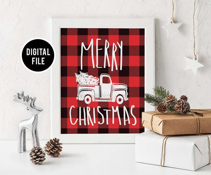 Christmas Buffalo Plaid Wall Art Decor, Printable Christmas truck wall art,