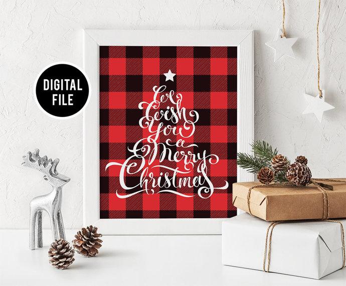 Christmas buffalo plaid printable wall art decor, Christmas wall art, We wish