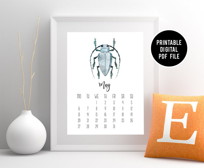 Entomologist Gift, Insect Wall Calendar, Printable Beetle Desktop Calendar, Bug