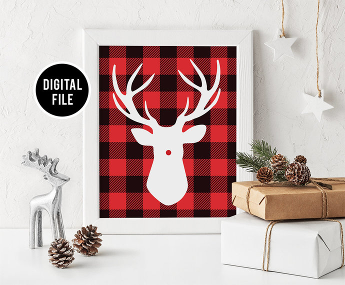 Christmas Buffalo Plaid Wall Art Decor, Printable Christmas wall art, Christmas