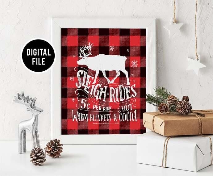Buffalo Plaid Wall Art Decor, Printable Christmas wall art, Christmas Sleigh