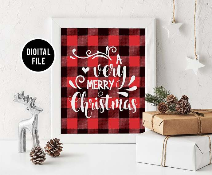 Christmas Buffalo Plaid Wall Art Decor, Printable Christmas wall art, Christmas