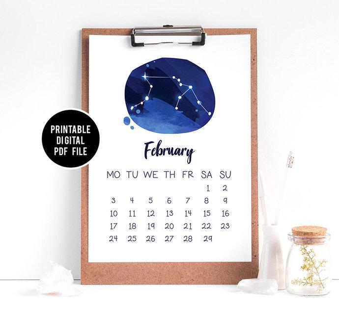 Zodiac Desktop Calendar 2020, Printable Calendar, 2020 Planner inserts, Zodiac