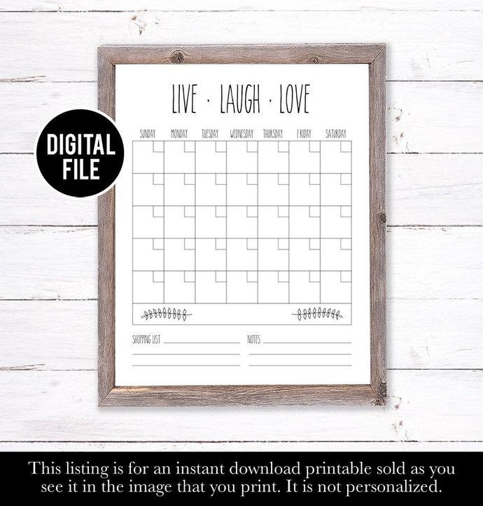Family Wall Calendar, Farm House Decor, Dry Erase Calendar Printable, Eco