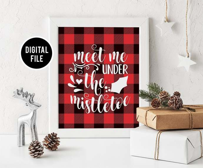 Buffalo Plaid Wall Art Decor, Printable Christmas wall art, Christmas Under the