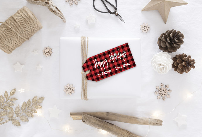 Printable Buffalo Plaid Christmas Gift Tags, Christmas Gift Tags, Gift Tag
