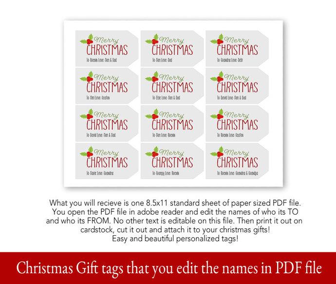 Christmas Gift Tag, Printable Christmas Tag, Printable Tag, Editable Christmas