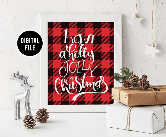 Buffalo Plaid Wall Art Decor, Printable Christmas wall art, Christmas Buffalo