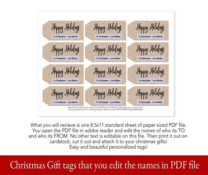 Kraft Paper Christmas Printable Gift Tags, Printable Christmas Gift Tags,
