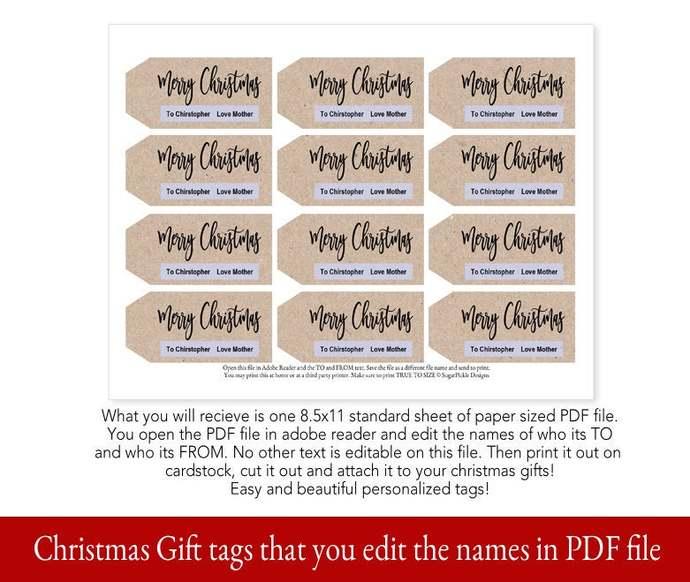 Modern Printable Christmas Gift Tags, Printable Christmas Gift Tags, Editable