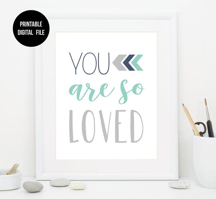 "Mint and Navy ""You Are So Loved"" nursery printable art, Boho Tribal baby boy"