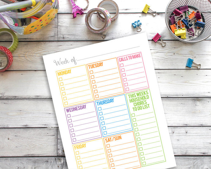 Weekly Calendar Printable, Household Binder Printable, Family Binder Printable,