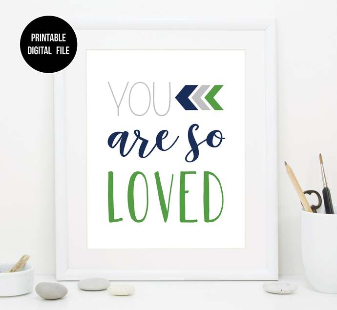 Green Navy and Grey You are so loved nursery printable art, Boho Tribal baby boy