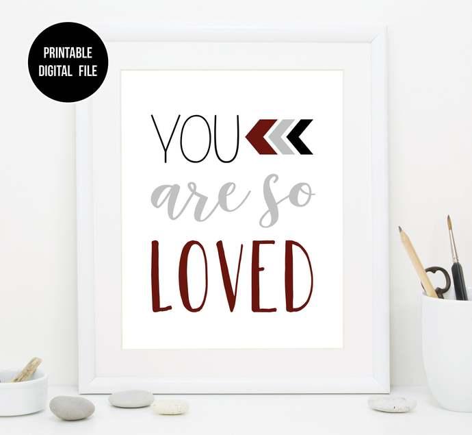 "Red Black and Gray ""You Are So Loved"" nursery printable art, Boho Tribal baby"