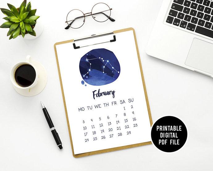 Zodiac Printable Calendar 2020 Included, Desktop Calendar, Family planner,