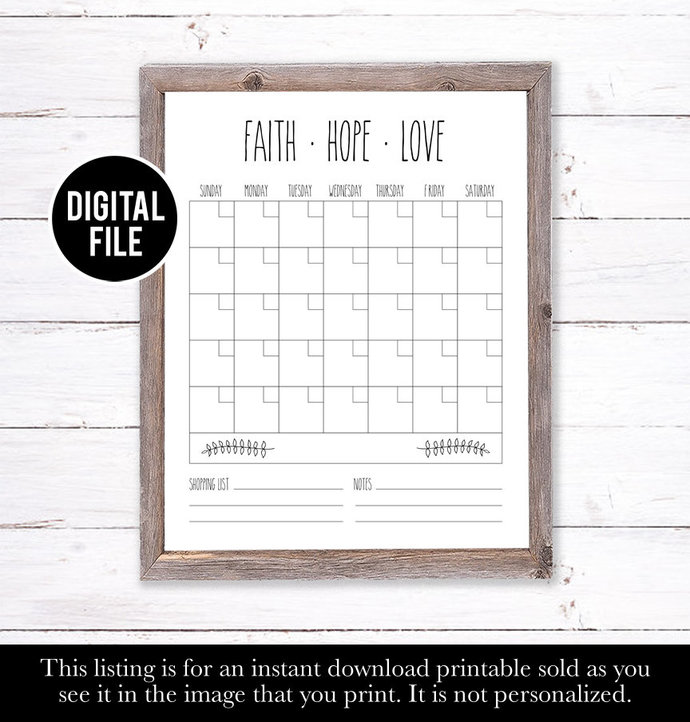 Dry Erase Calendar Printable, Rae Dunn Inspired Wall Calendar, Eco Friendly