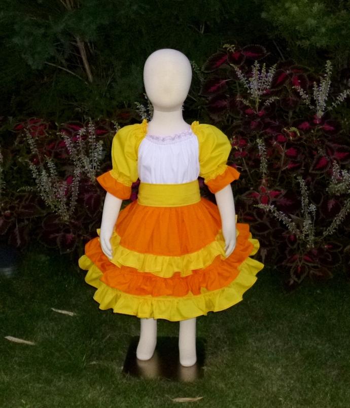 Candy Corn inspired Dress, Halloween Dress, Yellow Girl Dress, Orange Ruffle