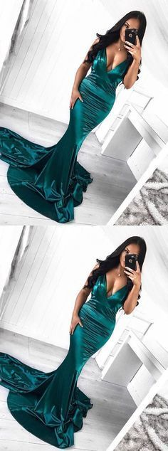 Mermaid V-Neck Sweep Train Dark Green Prom Dress