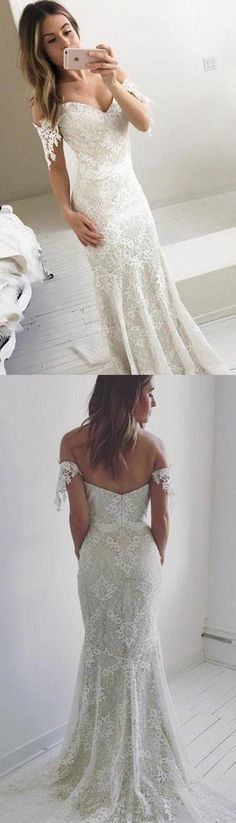 Affordable Off the Shoulder Mermaid Lace Long Prom Wedding Dresses