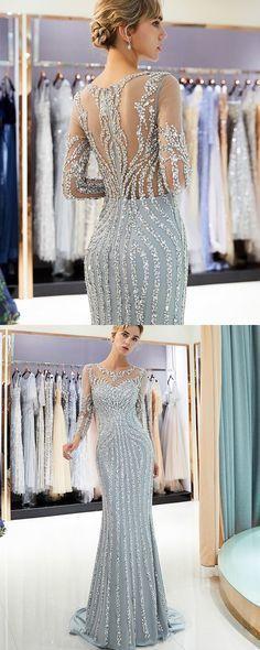 jewel sparkle beading mermaid grey long sleeve evening dress