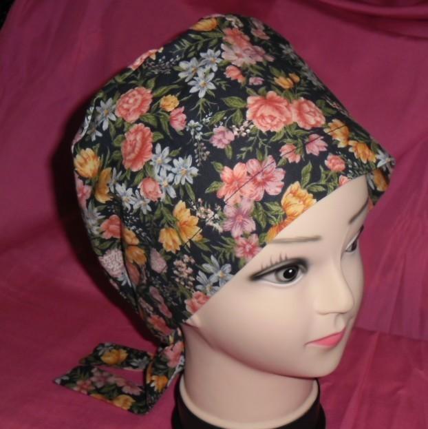Ladies Surgical Scrubs Scrub Cap Pixie Tie Back Hat Medical Caps Lots Of Flowers