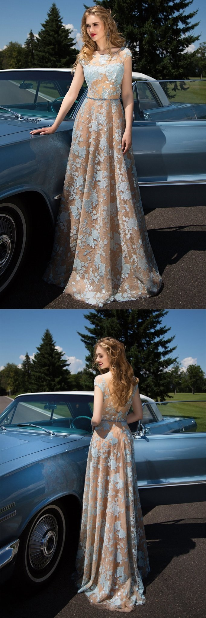 Charming Cap Sleeve Blue Lace Backless Long A-line Prom Dresses