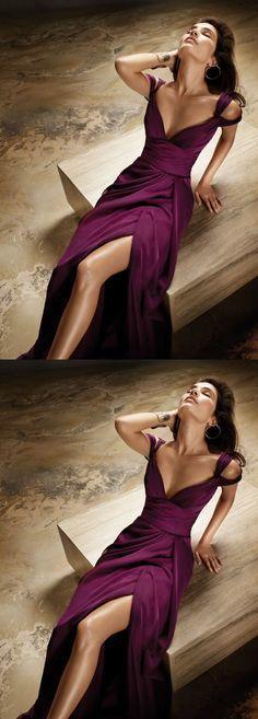 Grape Prom Dresses,Slit Prom Dress,SplitFormal Gown,Straps Prom Dresses,Slit