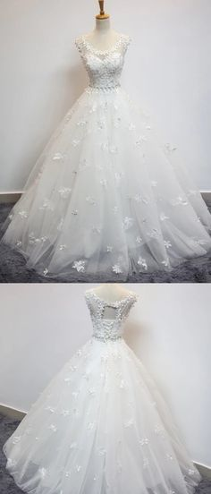 Ball Gown Scoop Neck Tulle Floor-length With Beading Wedding Dresses