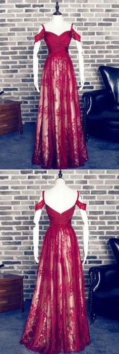Charming Red A-line Sweetheart Spaghetti Straps Lace Prom Dress