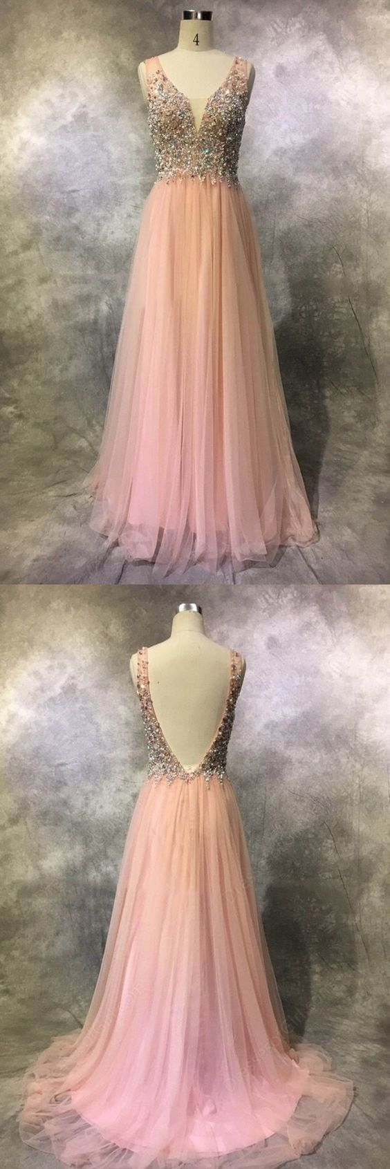 Pretty Pink Tulle Sequins Beading V-neck Long Dresses,evening Dresses