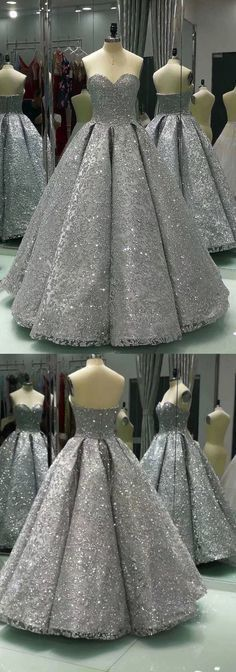 Sweetheart Gray Sleeveless Long Sequins Ball Gown, Shiny Winter Formal Prom