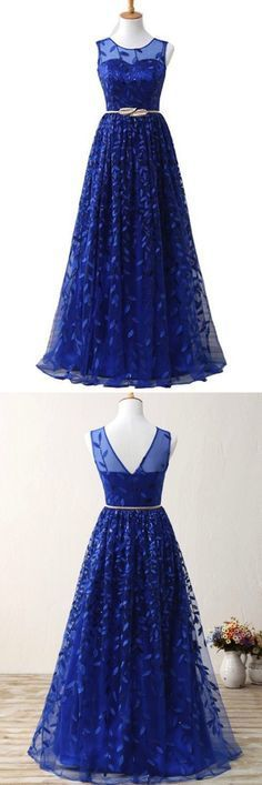 Royal Blue Lace Long Halter Prom Dress With Gold Belt