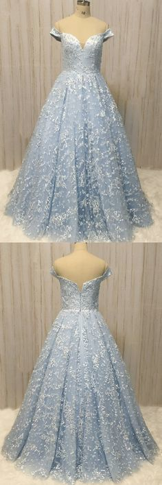 Unique Blue Lace Off Shoulder Long A-line Sweet Prom Dress, Long Lace Evening