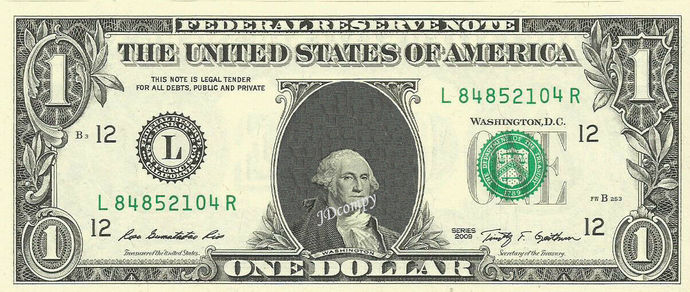 Baby Mini George Washington on a REAL Dollar Bill Cash Money Collectible
