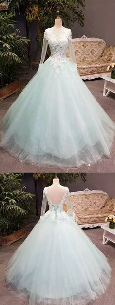 Unique Mint Tulle Long Lace Top Winter Prom Dress With Sleeves
