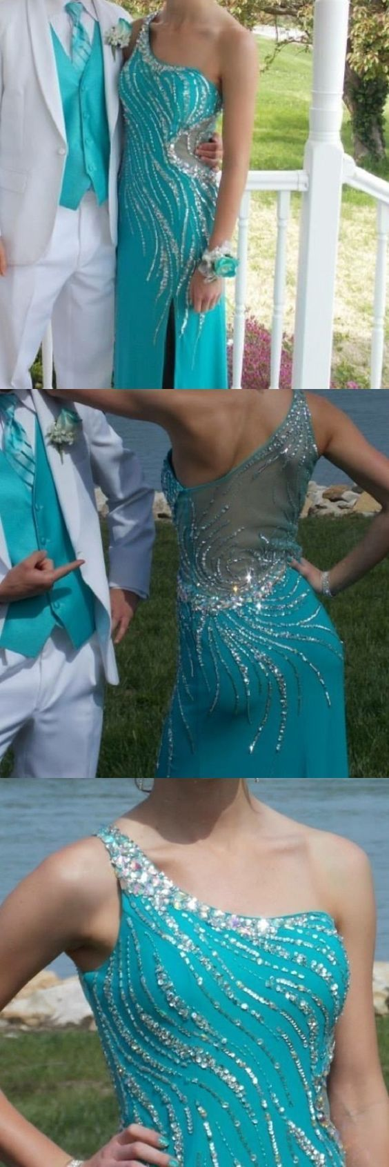 Blue Prom Dresses,Mermaid Evening Dresses,One Shoulder Prom Dresses,Beading Prom