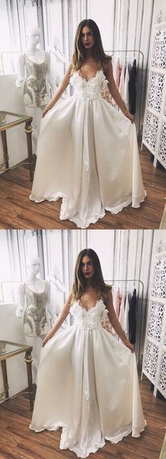 Stylish Prom Dresses,A-Line Prom Gown,Spaghetti Straps Prom Dress,White Prom